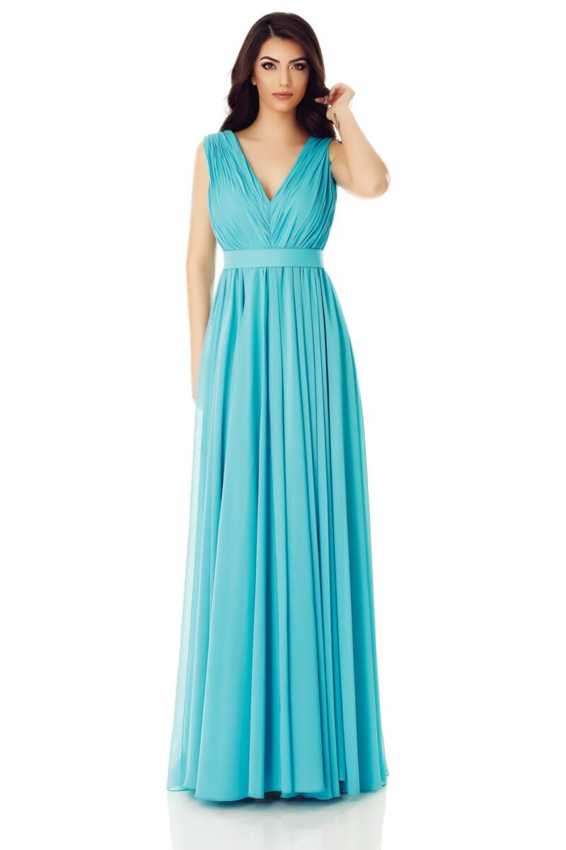 rochie de seara lunga turcoaz voal fin kora 4