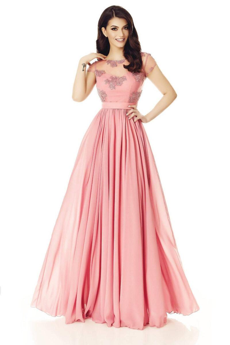 rochie de seara lunga voal dantela spate gol roz pudra erin 3