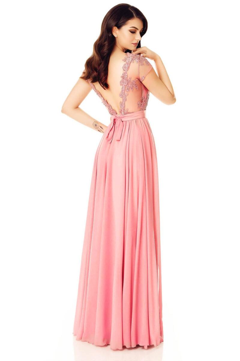 rochie de seara lunga voal dantela spate gol roz pudra erin 4