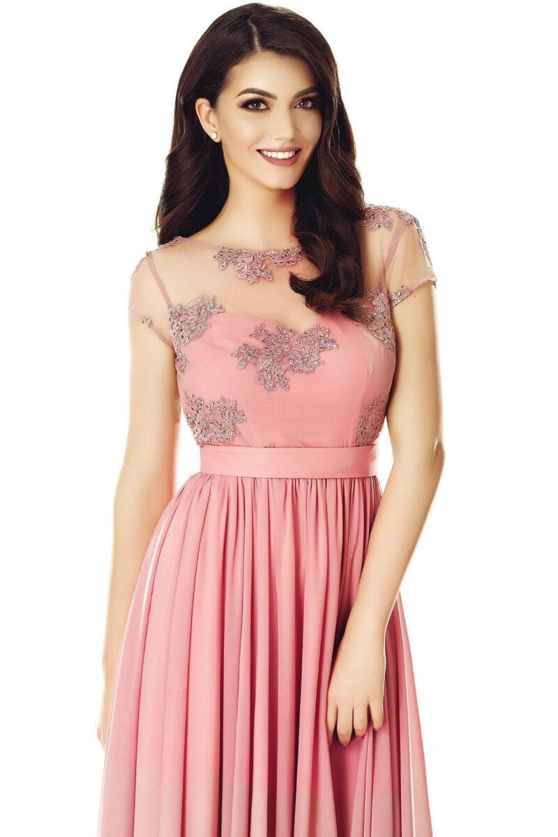 rochie de seara lunga voal dantela spate gol roz pudra erin 5