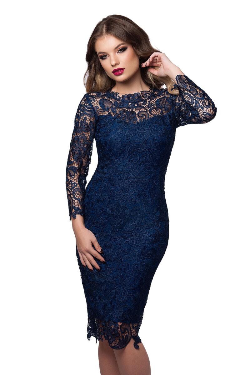 rochie de seara midi din dantela bleumarin cu maneci lungi noelle 3