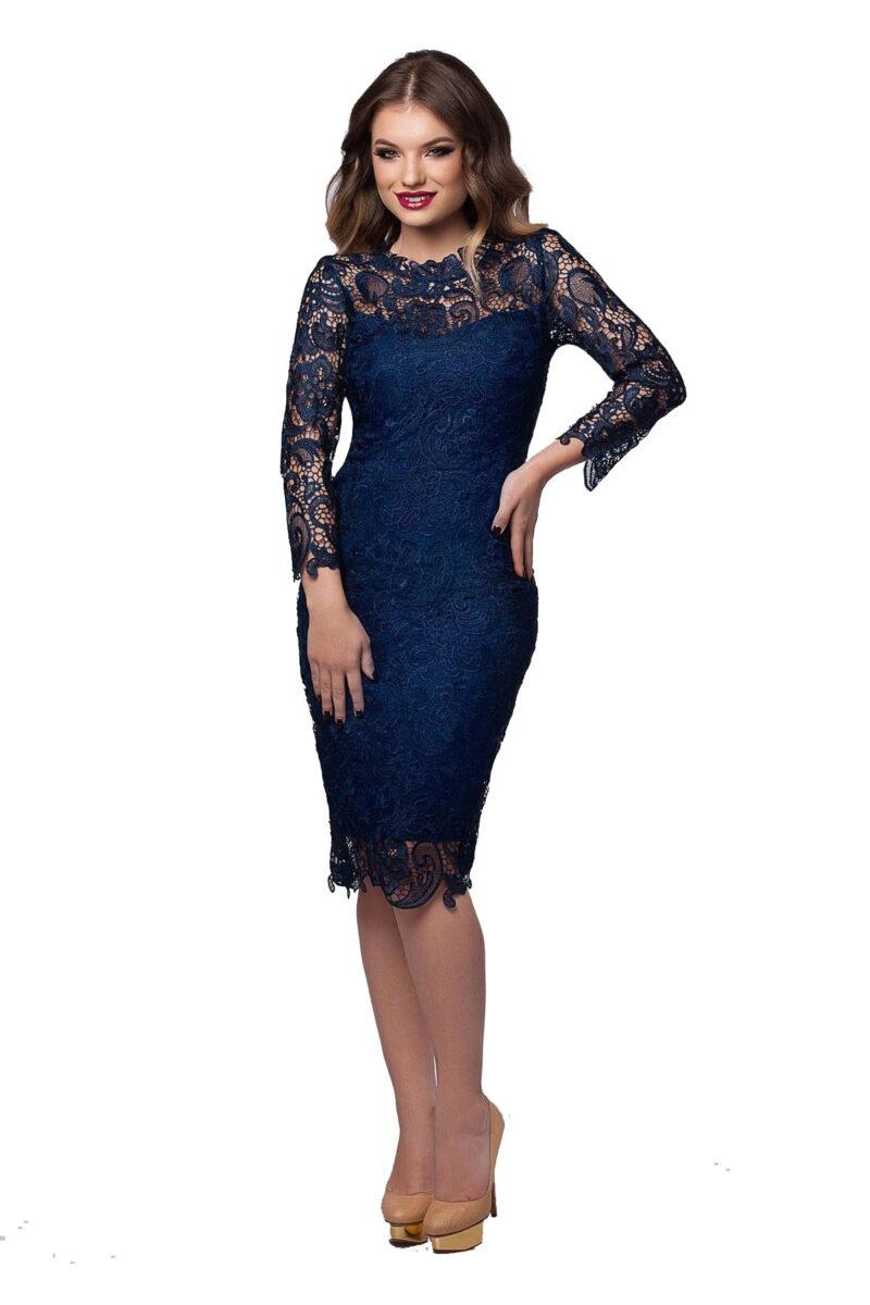 rochie de seara midi din dantela bleumarin cu maneci lungi noelle 4