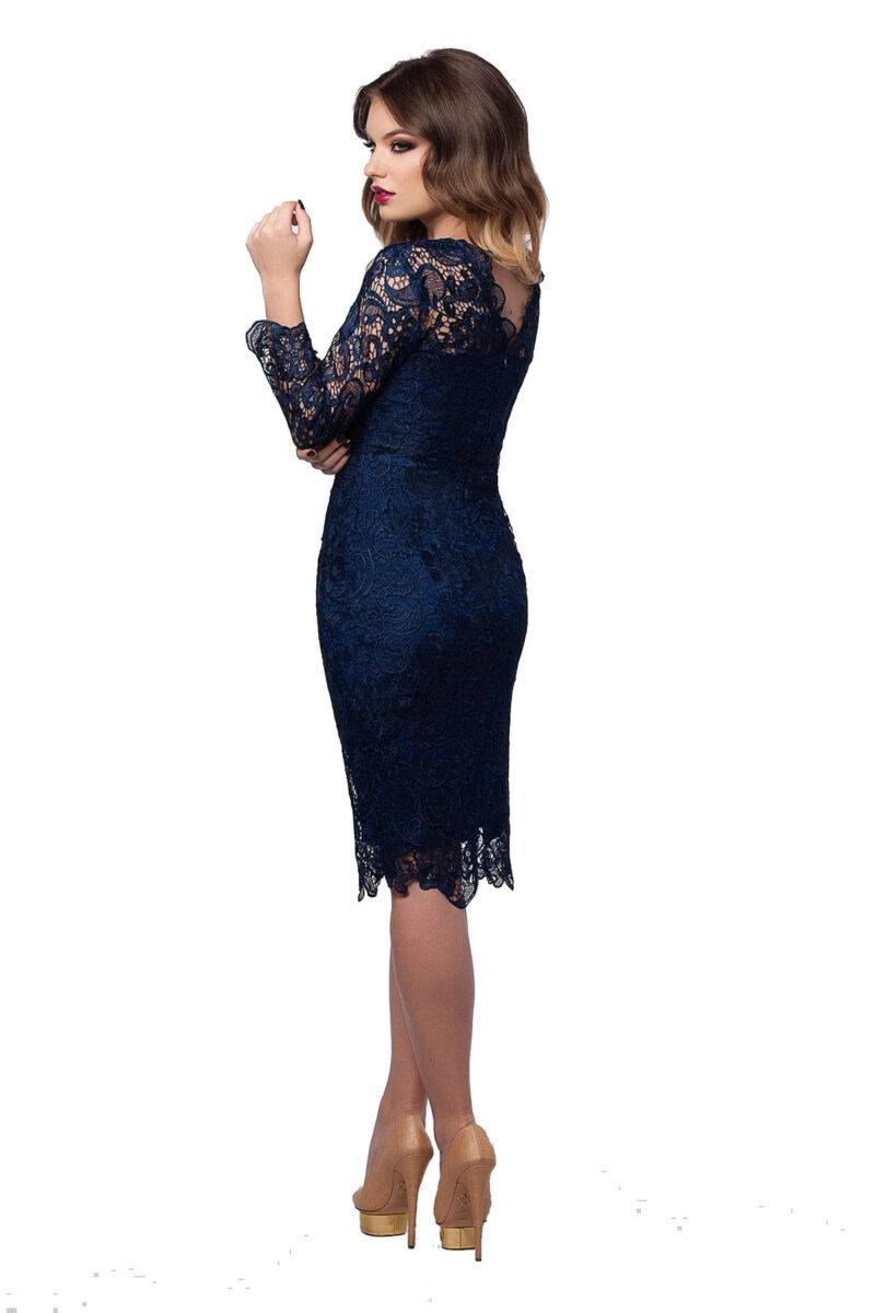 rochie de seara midi din dantela bleumarin cu maneci lungi noelle 5