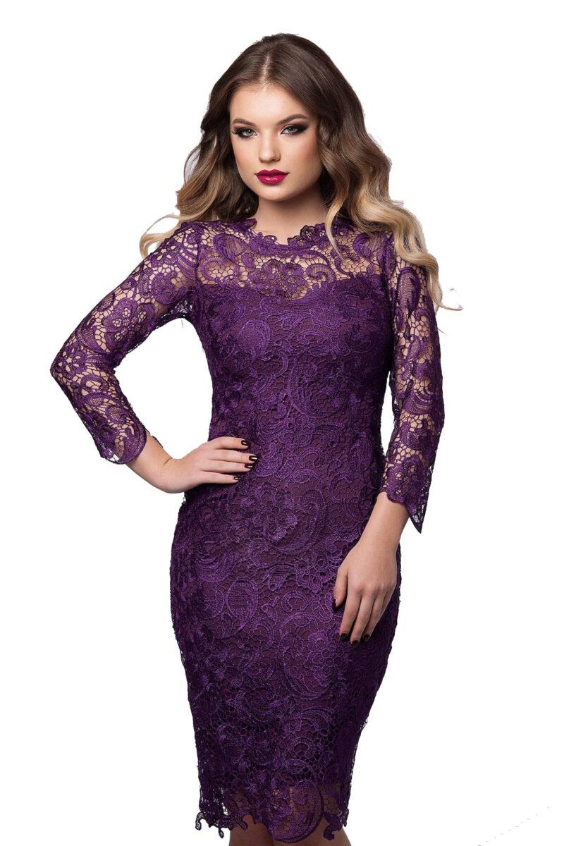 rochie de seara midi violet din dantela cu maenci lungi noelle 3