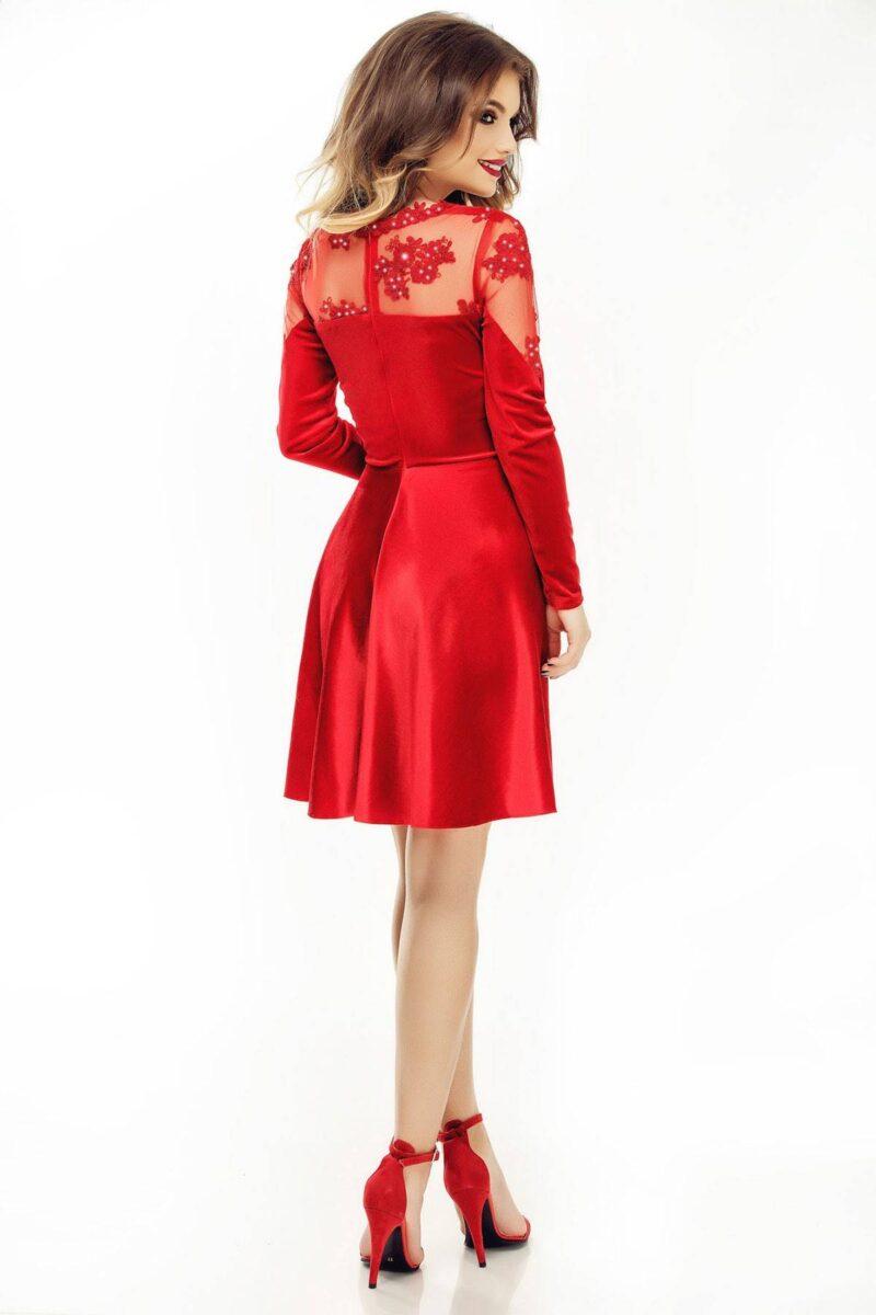 rochie de seara scurta cu fusta in clos din catifea si dantela rosie antonia 3