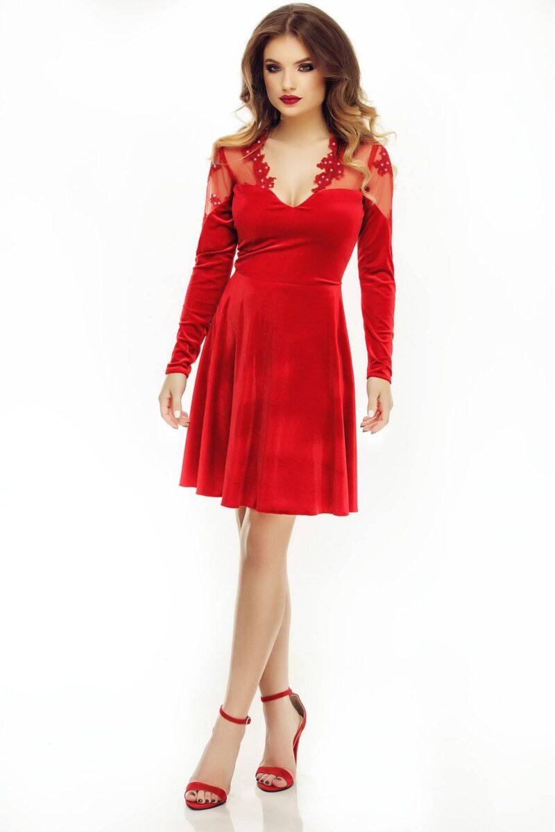 rochie de seara scurta cu fusta in clos din catifea si dantela rosie antonia 4