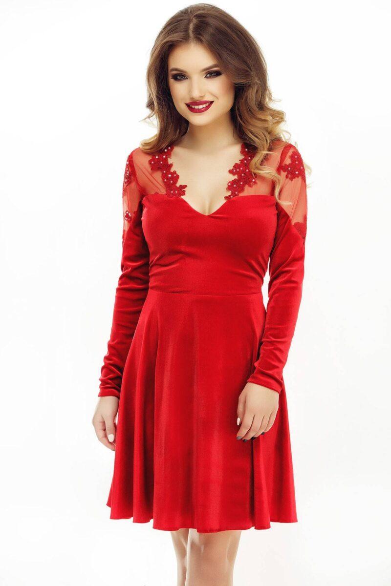 rochie de seara scurta cu fusta in clos din catifea si dantela rosie antonia 5