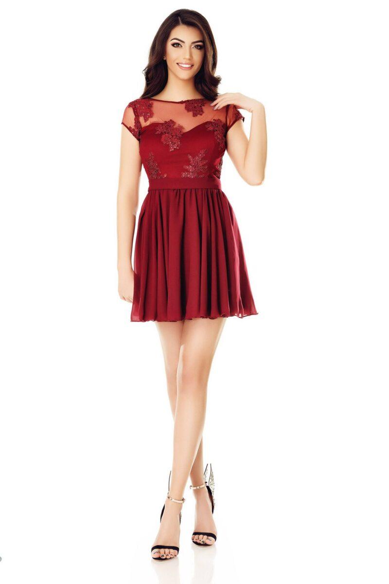 rochie de seara scurta cu spatele gol dantela voal bordo erin 3