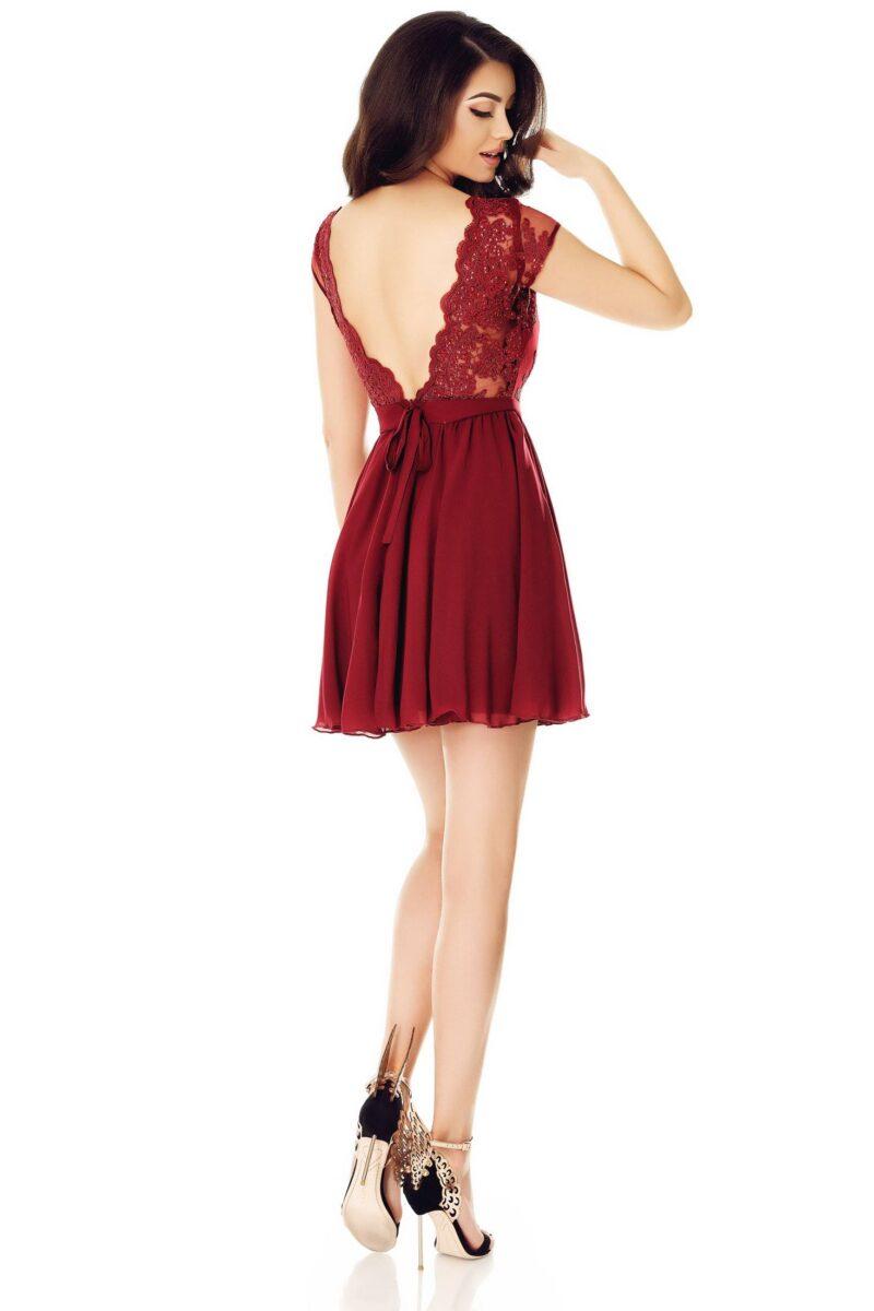 rochie de seara scurta cu spatele gol dantela voal bordo erin 5