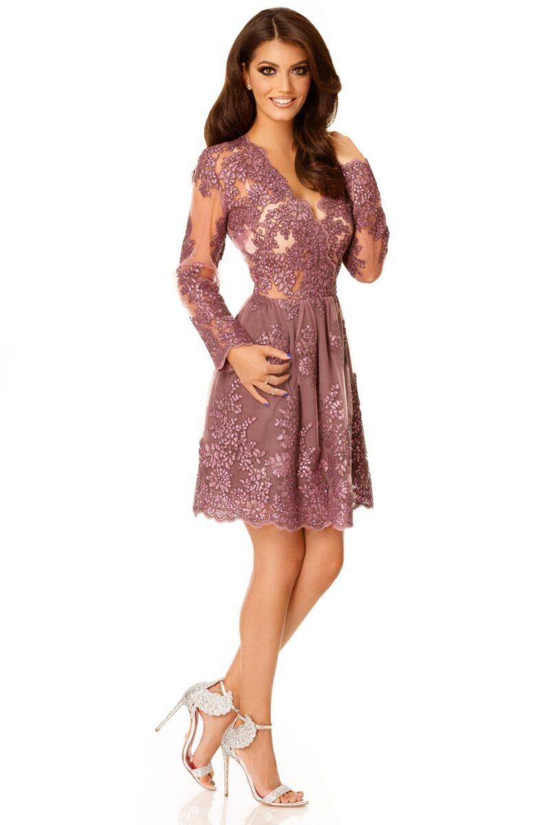 rochie de seara scurta dantela pretioasa lila selin 4 scaled