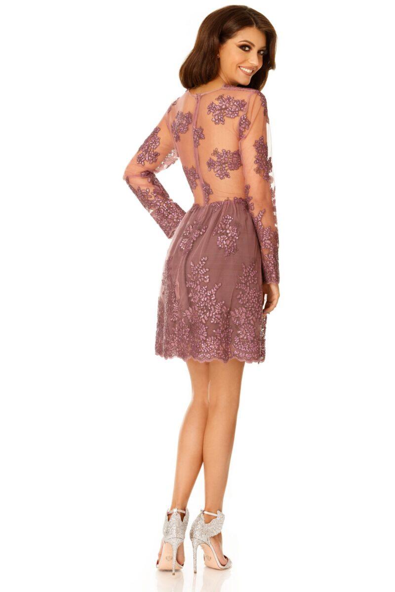 rochie de seara scurta dantela pretioasa lila selin 5 scaled