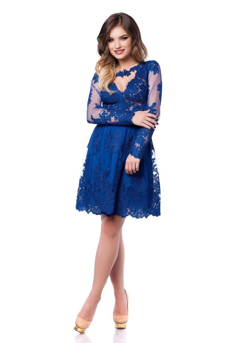 rochie de seara scurta din dantela albastra cu lant de flori viviane 3