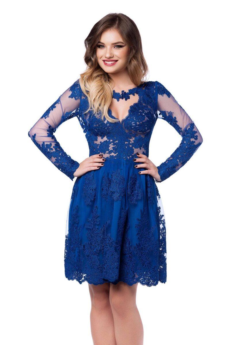 rochie de seara scurta din dantela albastra cu lant de flori viviane 4
