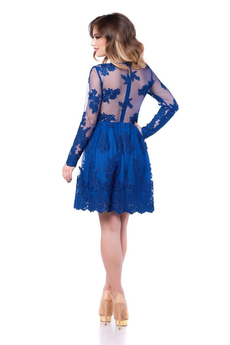 rochie de seara scurta din dantela albastra cu lant de flori viviane 5