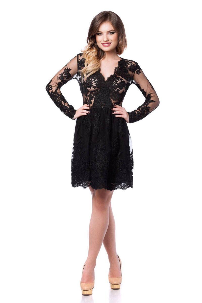 rochie de seara scurta din dantela neagra norina 3