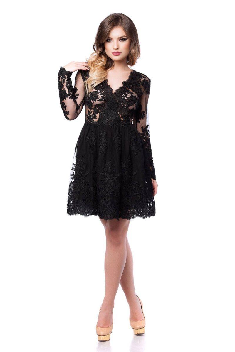 rochie de seara scurta din dantela neagra norina 4