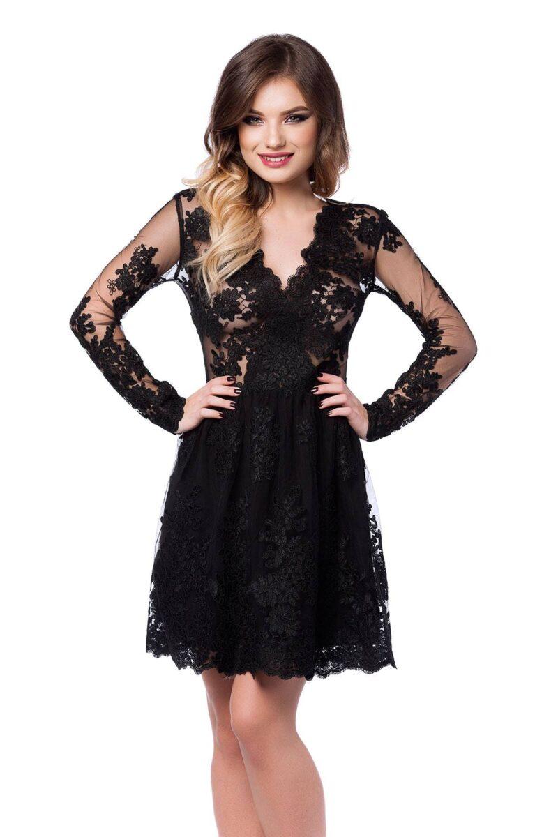 rochie de seara scurta din dantela neagra norina 5