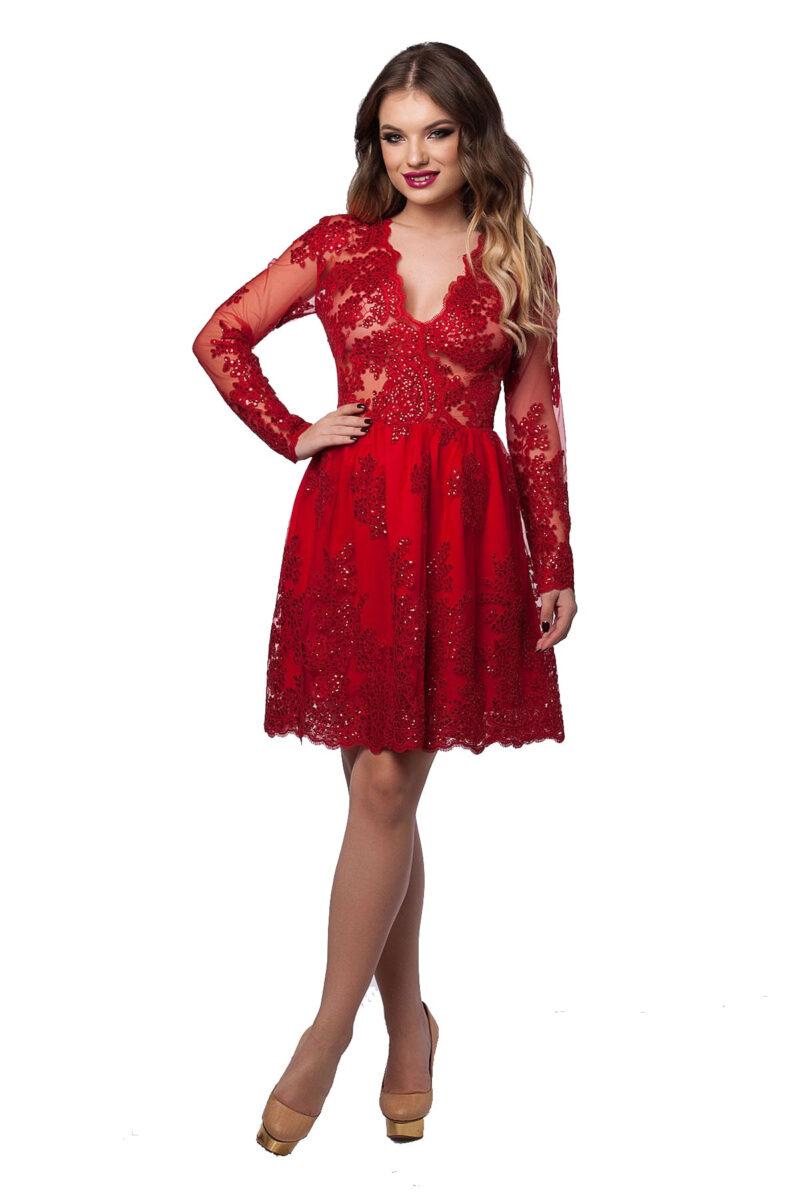 rochie de seara scurta rosie din dantela cu paiete selin 4