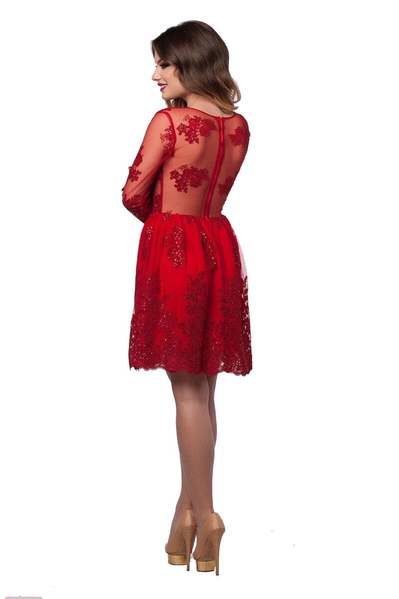 rochie de seara scurta rosie din dantela cu paiete selin 5