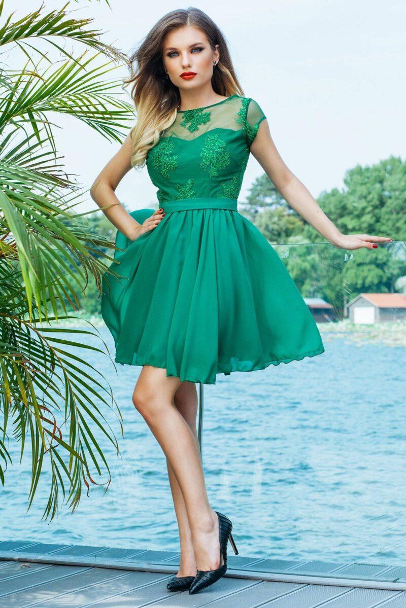 rochie de seara scurta verde din dantela si voal erin 3
