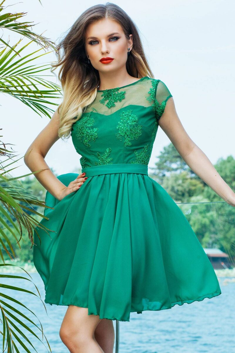 rochie de seara scurta verde din dantela si voal erin 4