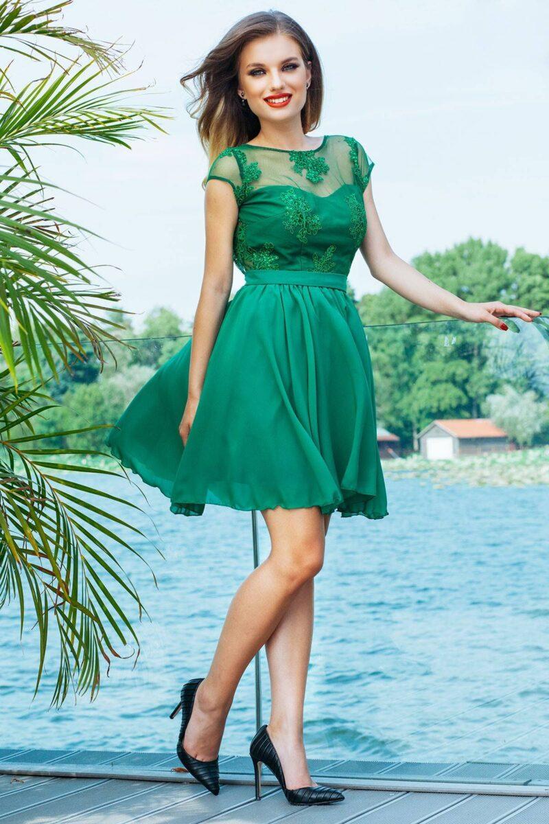 rochie de seara scurta verde din dantela si voal erin 5