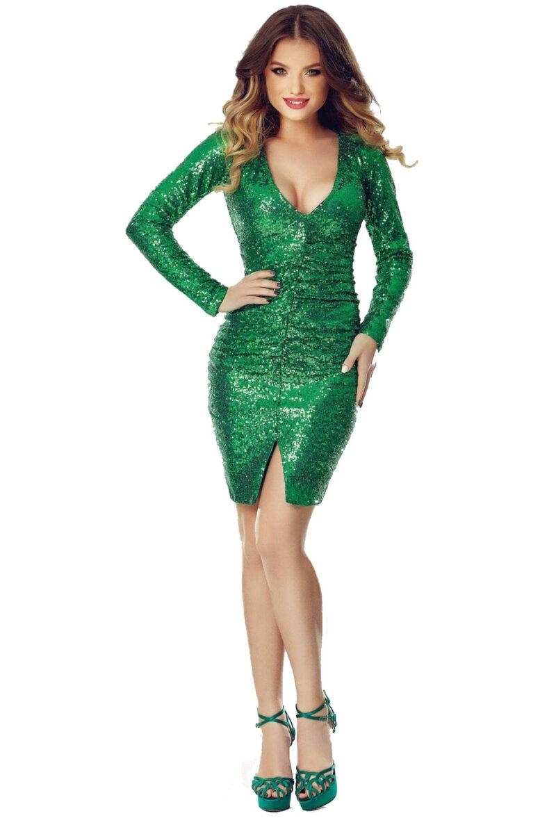 rochie de sera scurta din paiete verzi ruby verde 10
