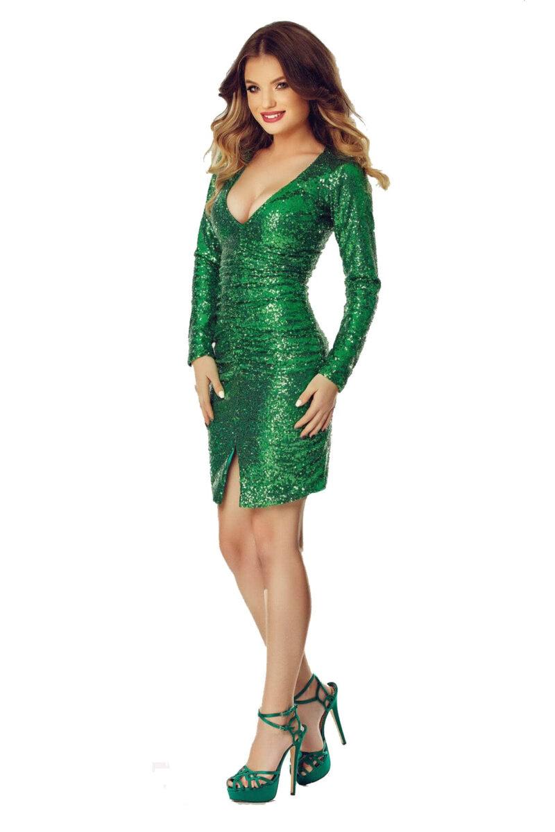 rochie de sera scurta din paiete verzi ruby verde 11