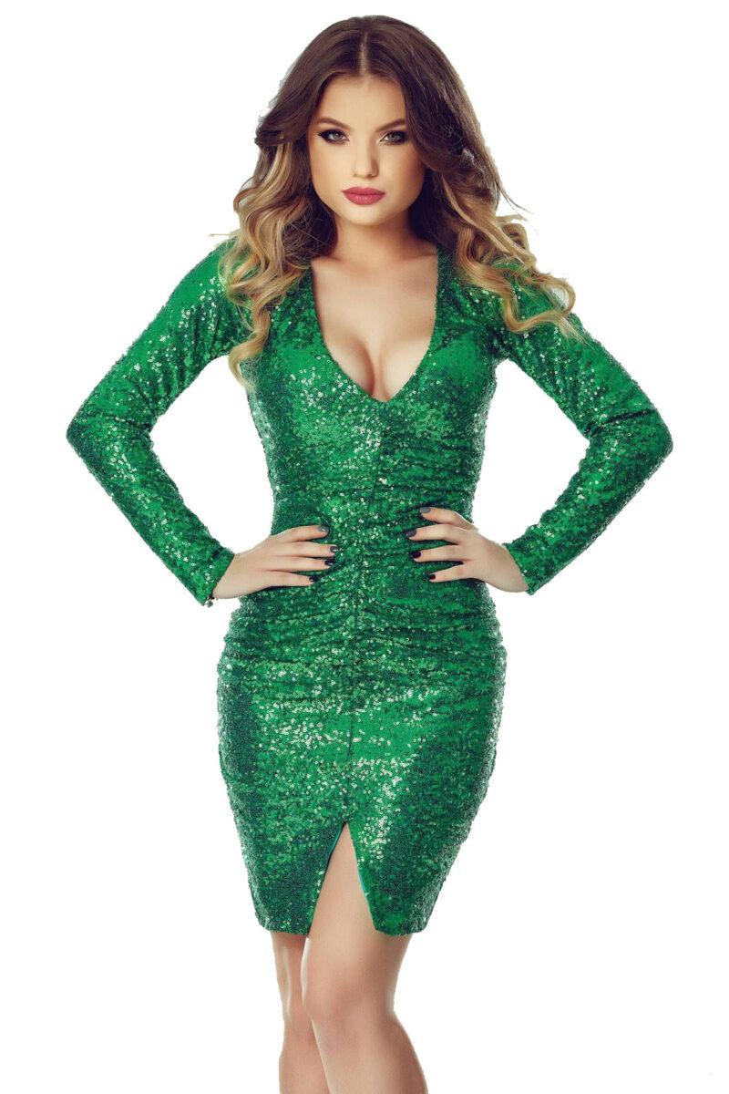 rochie de sera scurta din paiete verzi ruby verde 9