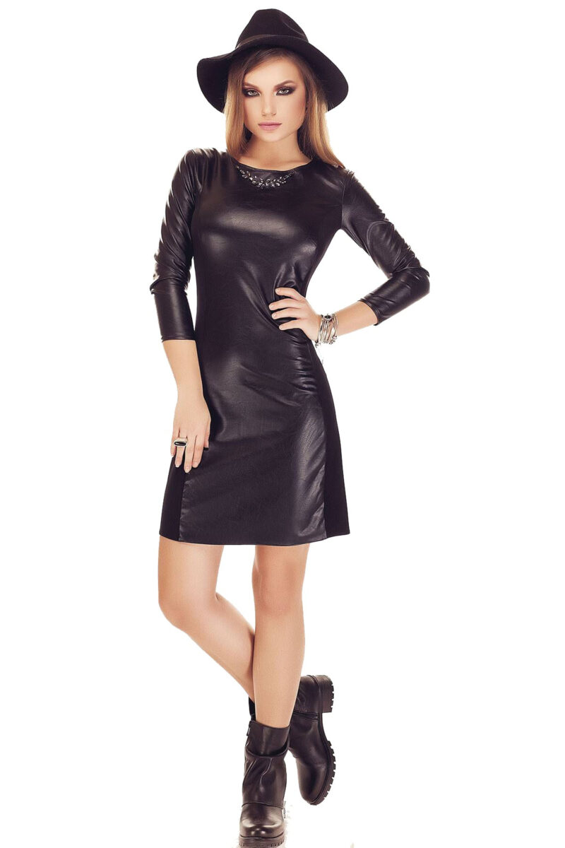 rochie din piele neagra scurta cu maneci lungi anda 3