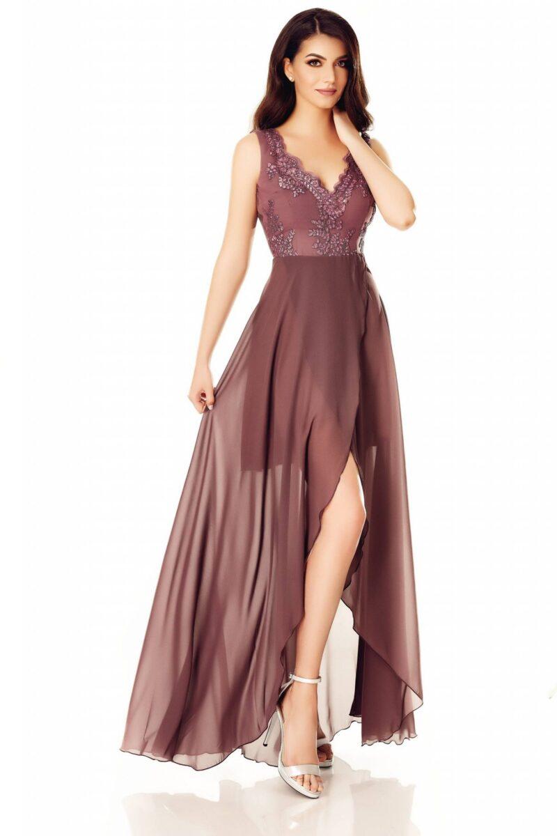 rochie din voal fin cu bust dantela pretioasa si fusta despicata amna 3 scaled