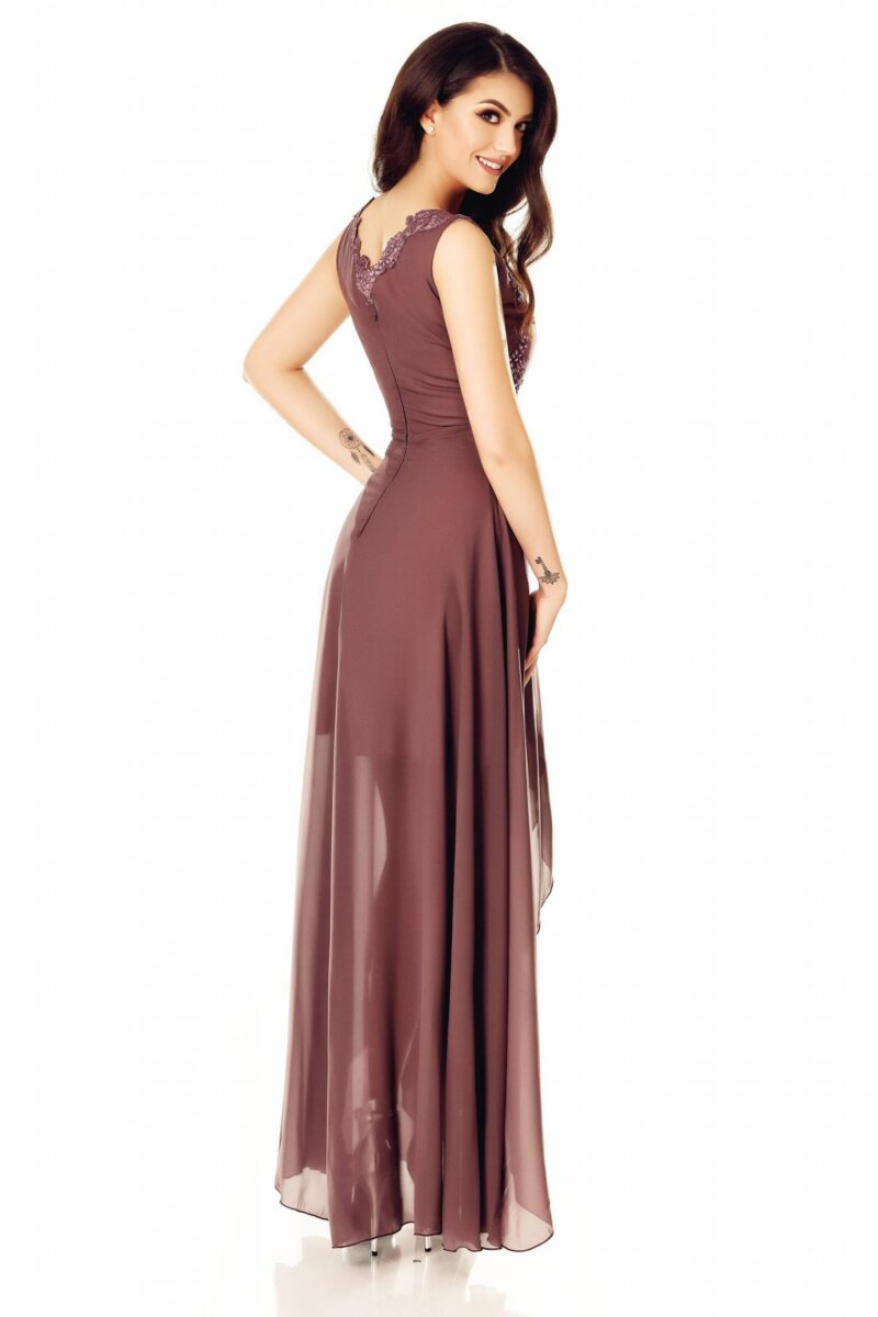 rochie din voal fin cu bust dantela pretioasa si fusta despicata amna 5 scaled