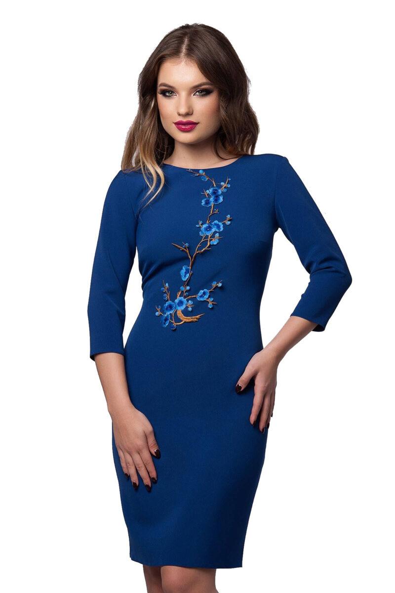 rochie eleganta de zi din antic albastru cu aplicatie florala olympia 3