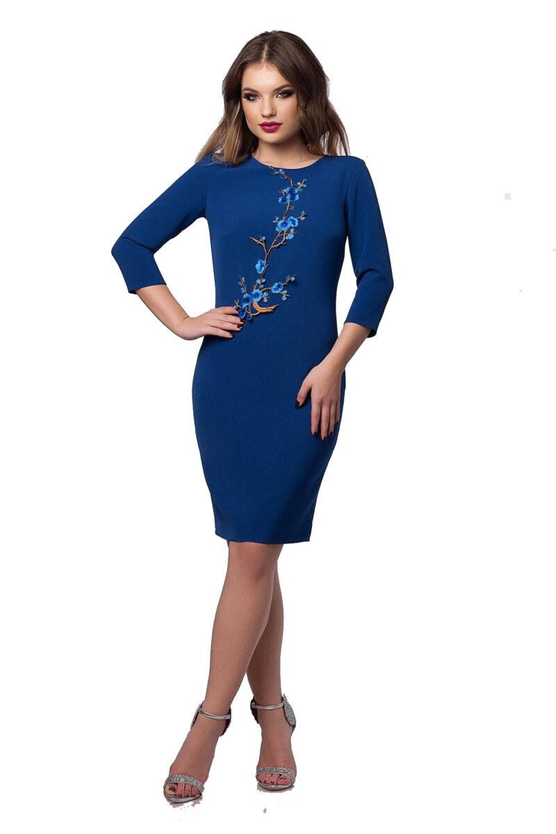 rochie eleganta de zi din antic albastru cu aplicatie florala olympia 4