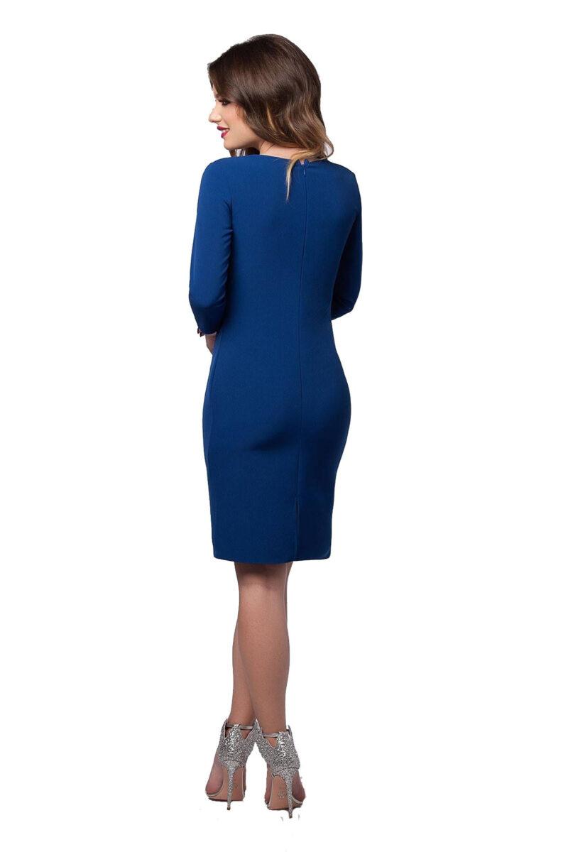 rochie eleganta de zi din antic albastru cu aplicatie florala olympia 5