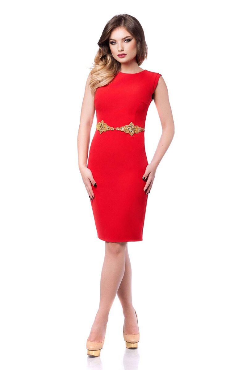 rochie eleganta rosie din antic cu aplicatie pretioasa aurie si spatele gol fabia 3
