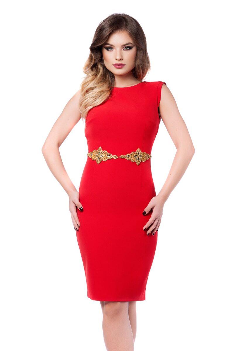 rochie eleganta rosie din antic cu aplicatie pretioasa aurie si spatele gol fabia 4