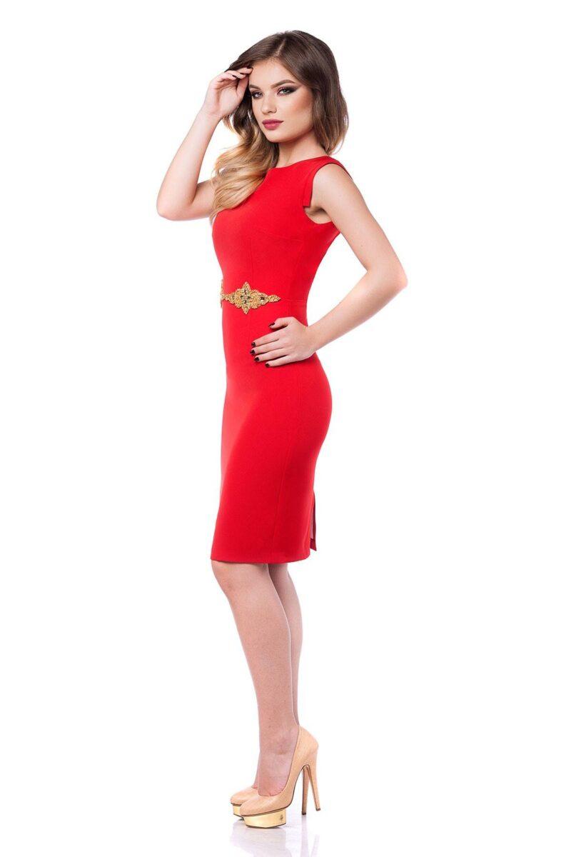 rochie eleganta rosie din antic cu aplicatie pretioasa aurie si spatele gol fabia 5