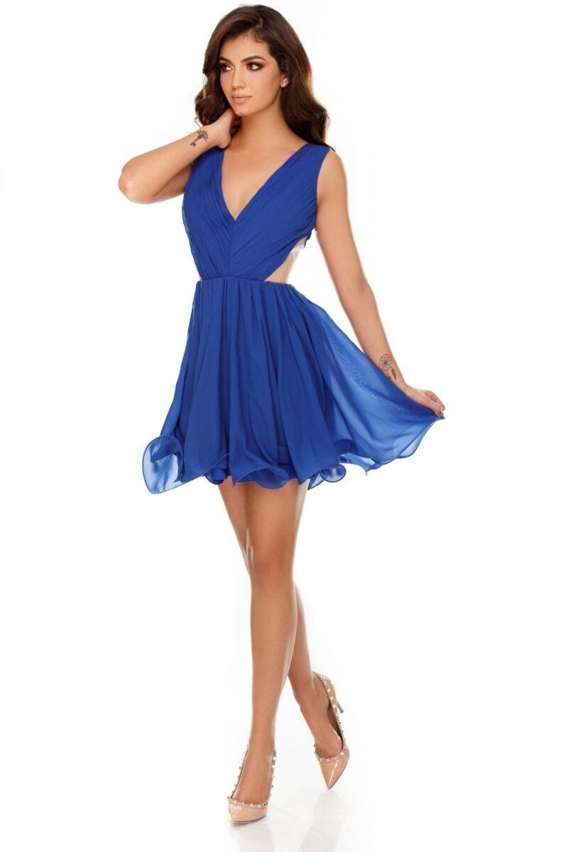 rochie eleganta scurta albastra din voal timea 3 scaled