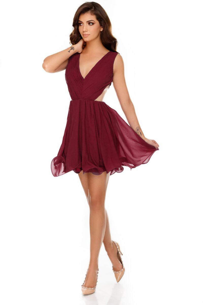 rochie eleganta scurta din voal bordo timea 4 scaled