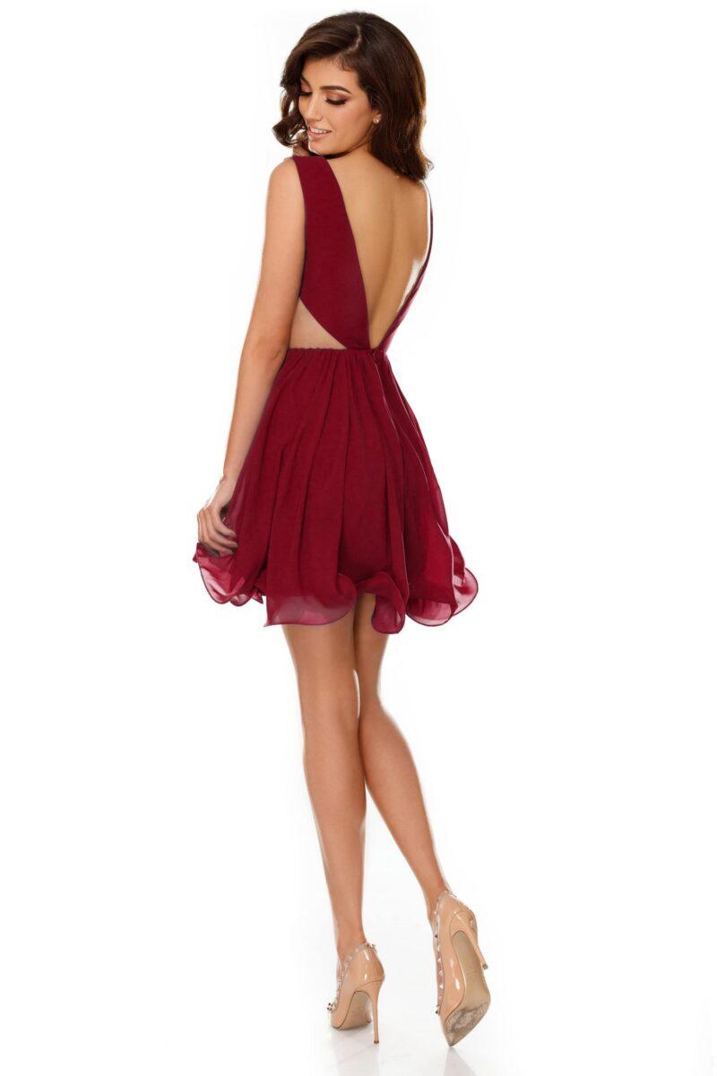 rochie eleganta scurta din voal bordo timea 5 scaled