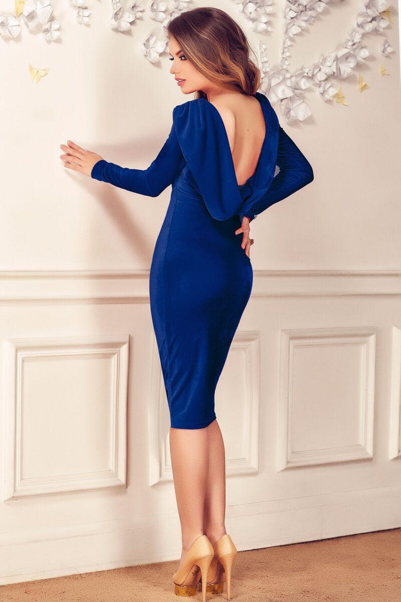 rochie irissa albastra catifea 3