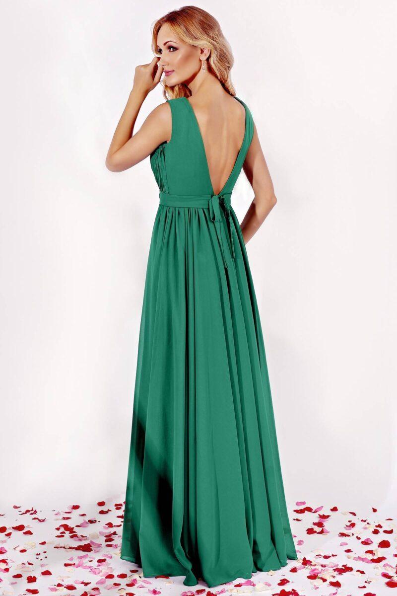 rochie lunga de seara din voal verde cu aplicatiepretioasa kora 2
