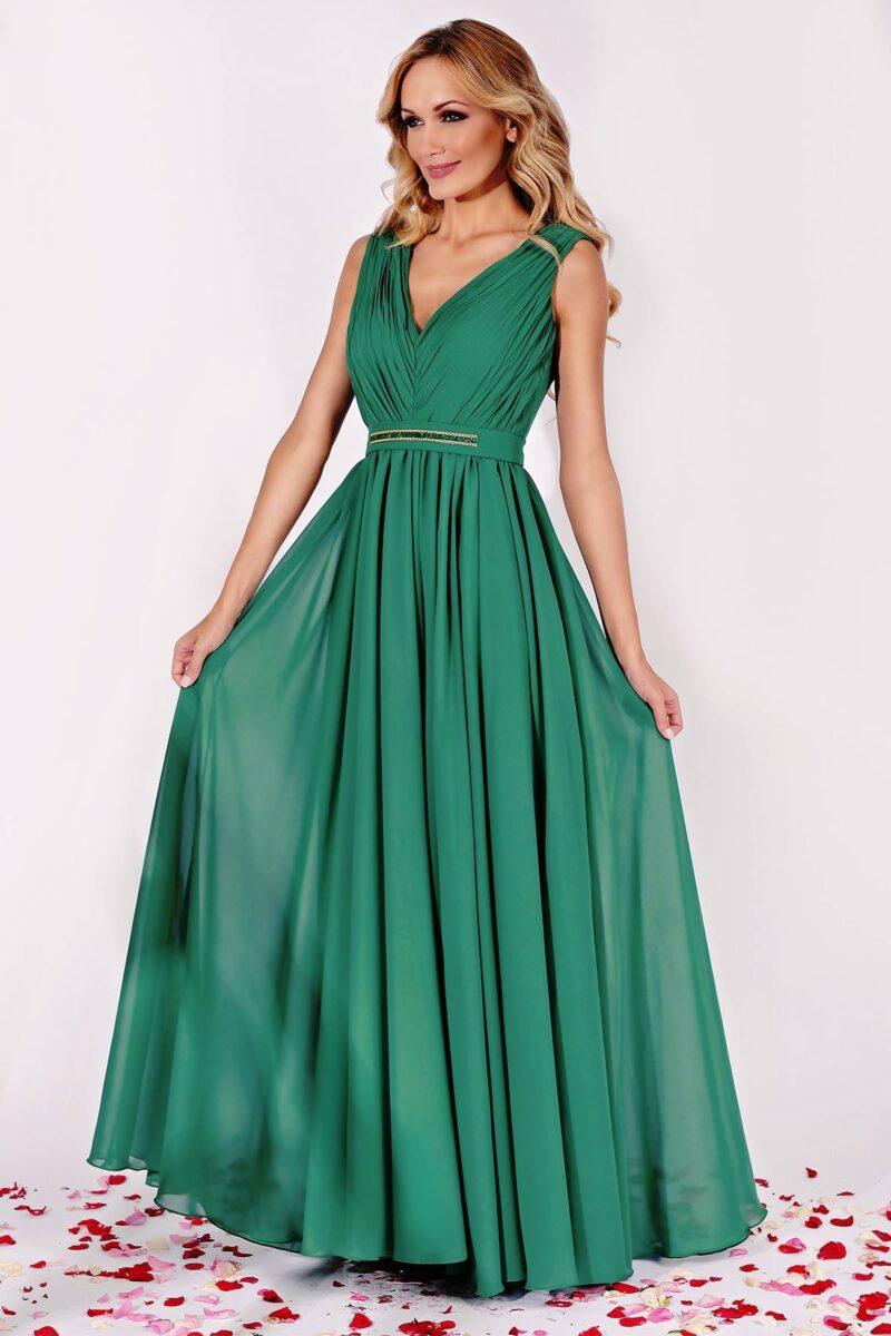 rochie lunga de seara din voal verde cu aplicatiepretioasa kora 3