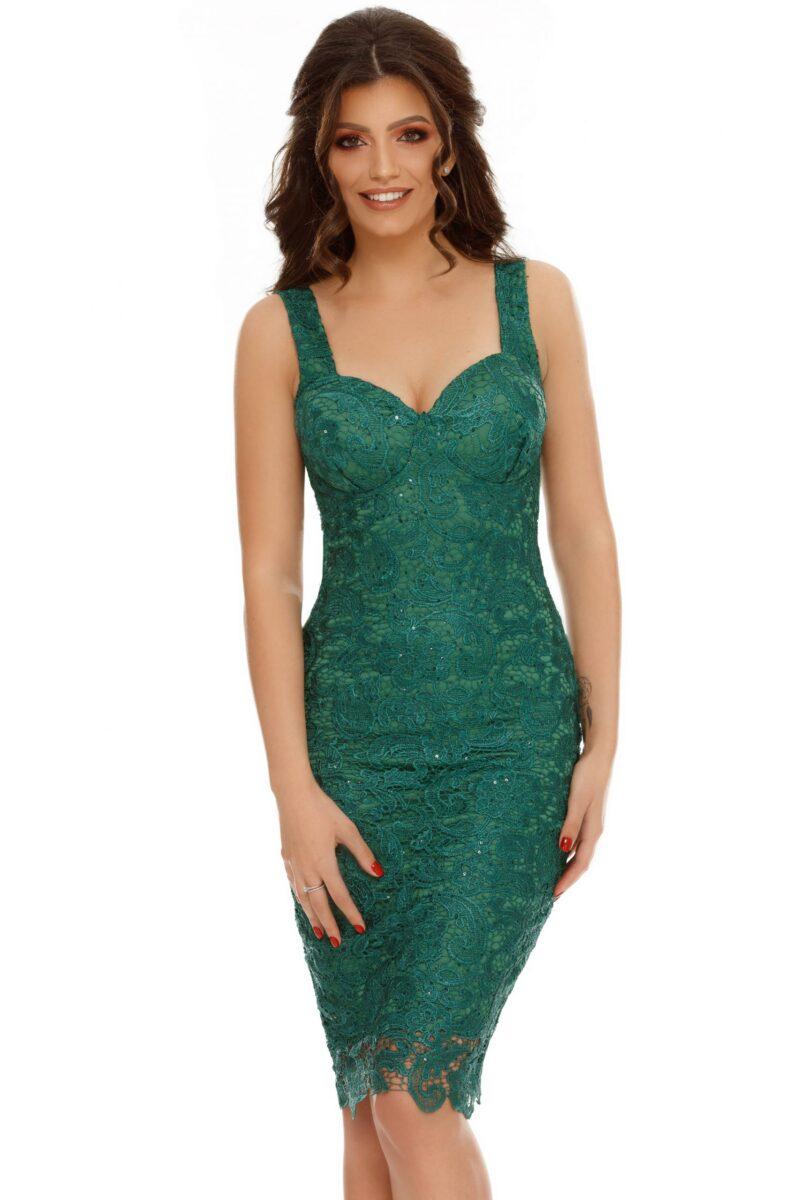 rochie midi dantela paiete verde smarald ella 3 scaled