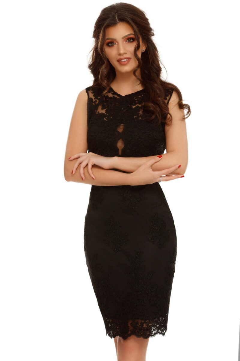 rochie midi neagra conica dantela pretioasa ingrid 4 scaled