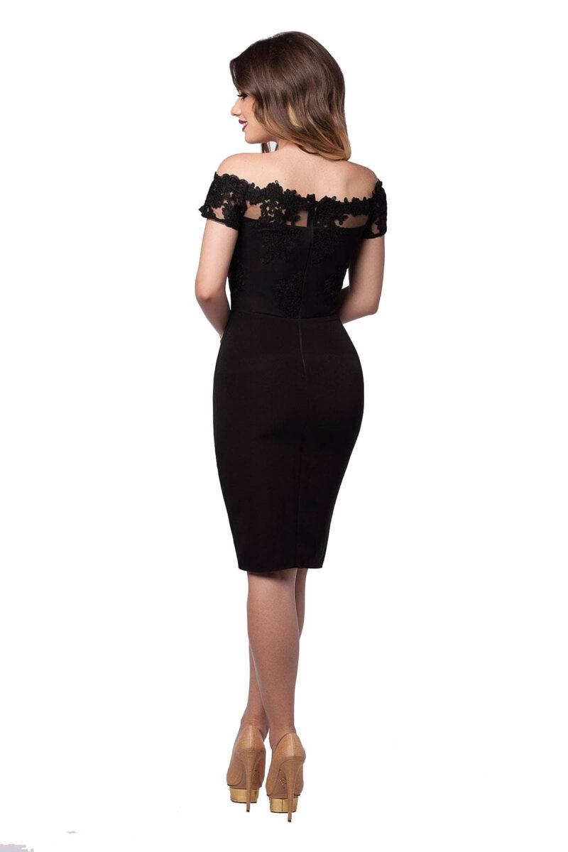 rochie neagra de seara midi bust dantela fusta triplu voal kristie 4