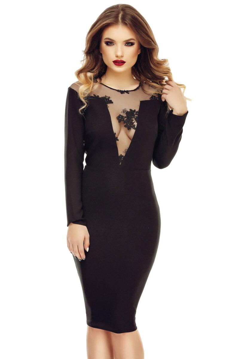 rochie neagra de seara midi din triplu voal cu dantela pretioasa tina 9