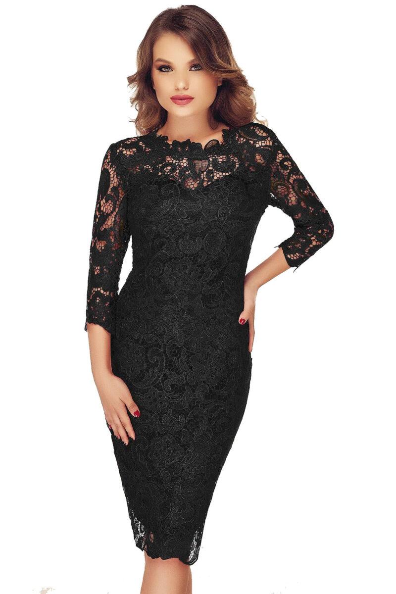 rochie neagra eleganta din dantela noelle 3