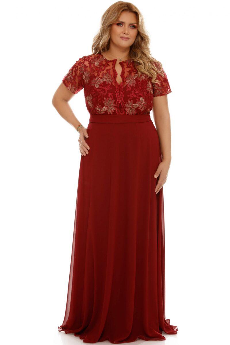 rochie plus size estela bordo 6 scaled